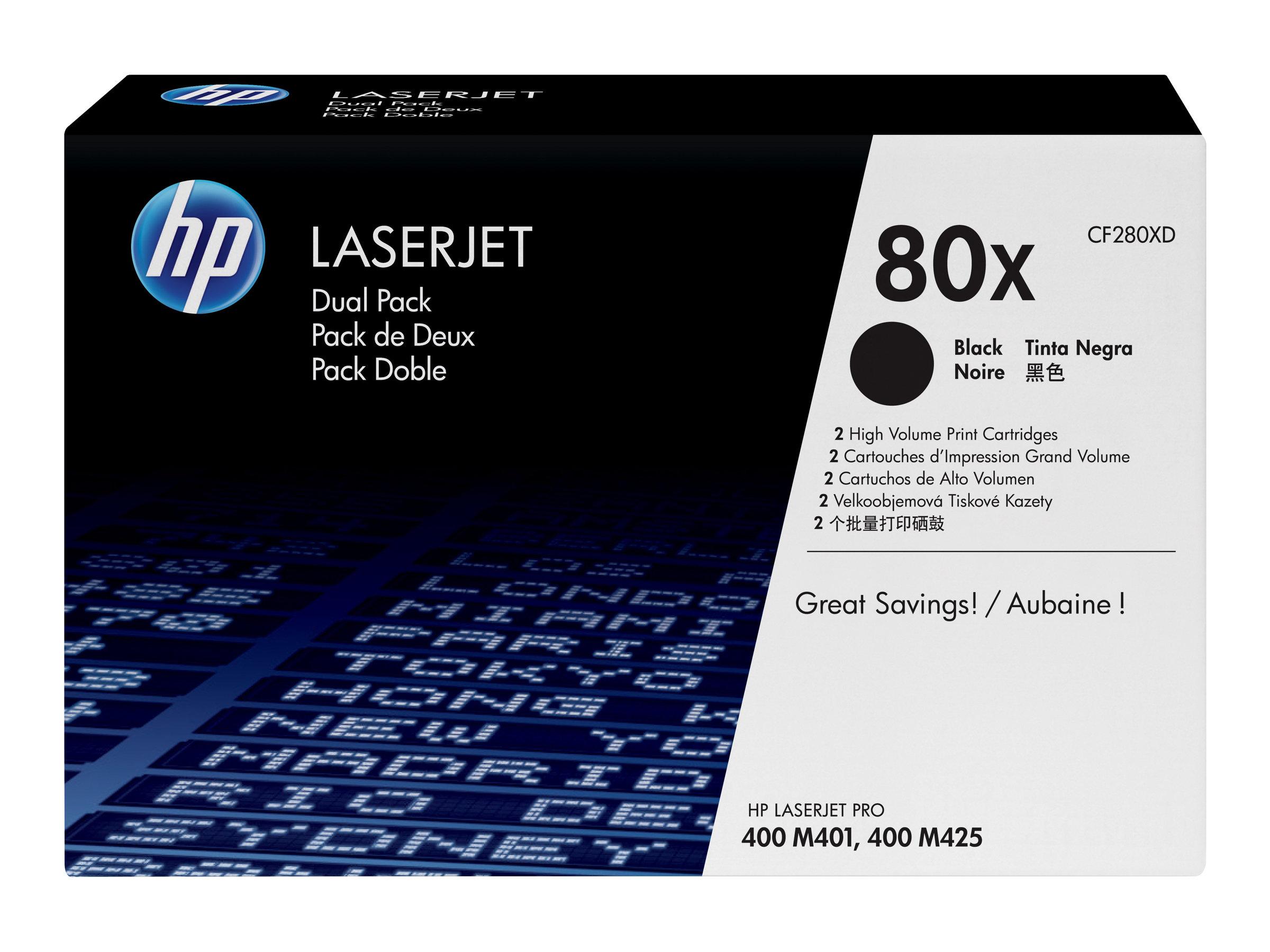 HP 80x - pack de 2 - à rendement élevé - noir - originale - LaserJet - cartouche de toner (CF280XD)
