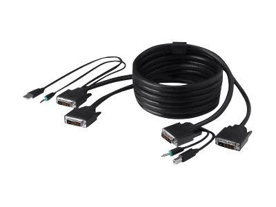 Belkin Secure KVM Cable Kit - Video / USB / audio cable kit - USB, mini-phone stereo 3.5 mm, DVI-D (M) to mini-phone stereo 3.5 mm, USB Type B, DVI-D (M) - 15 ft - B2B