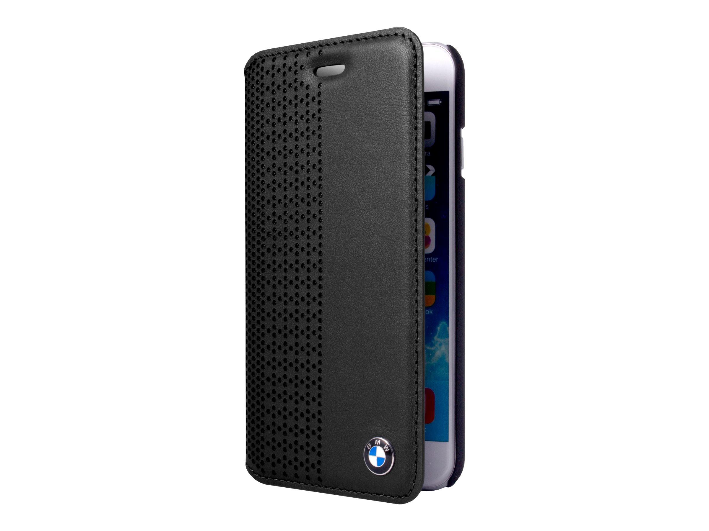BMW - Protection à rabat pour iPhone - cuir véritable - noir - pour iPhone 5, 5s