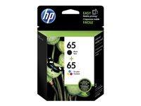 HP 65 - 2-pack - black, dye-based tricolor - original - blister - ink cartridge - for Deskjet 3721, 3723, 3733, 3752, 3755