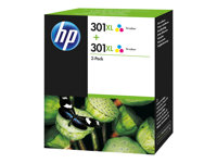 HP 301XL Tri-colour Ink Crtg Twin Pack, HP 301XL Tri-colour Ink