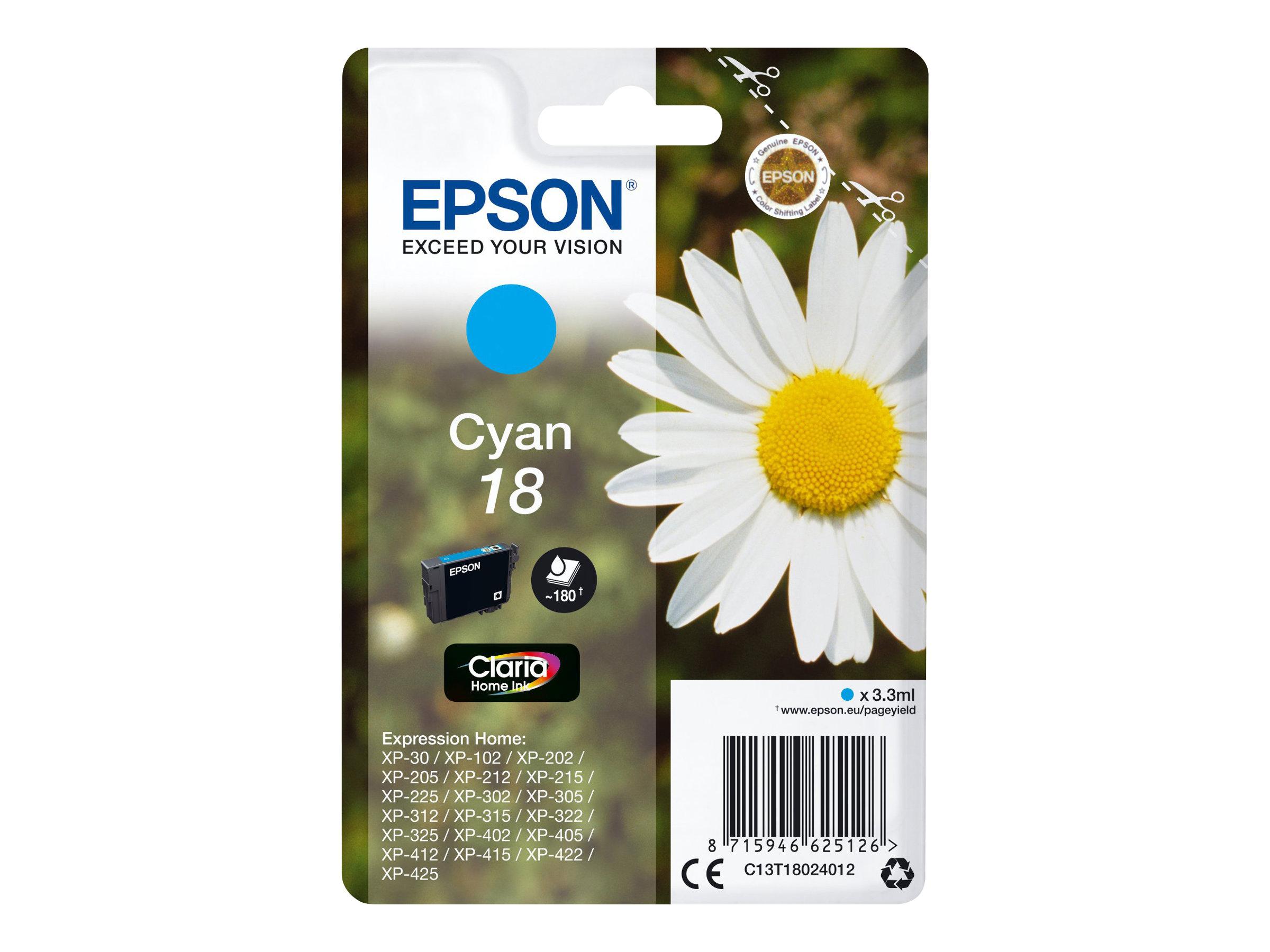 Epson T1802 - pâquerette - cyan - originale - cartouche d'encre