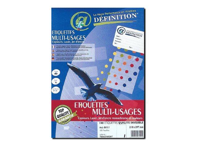 QRT Graphique Définition ETIQUETTES Multi-usages - Étiquettes adhésives - invisible - 99.1 x 67.7 mm 800 étiquette(s)