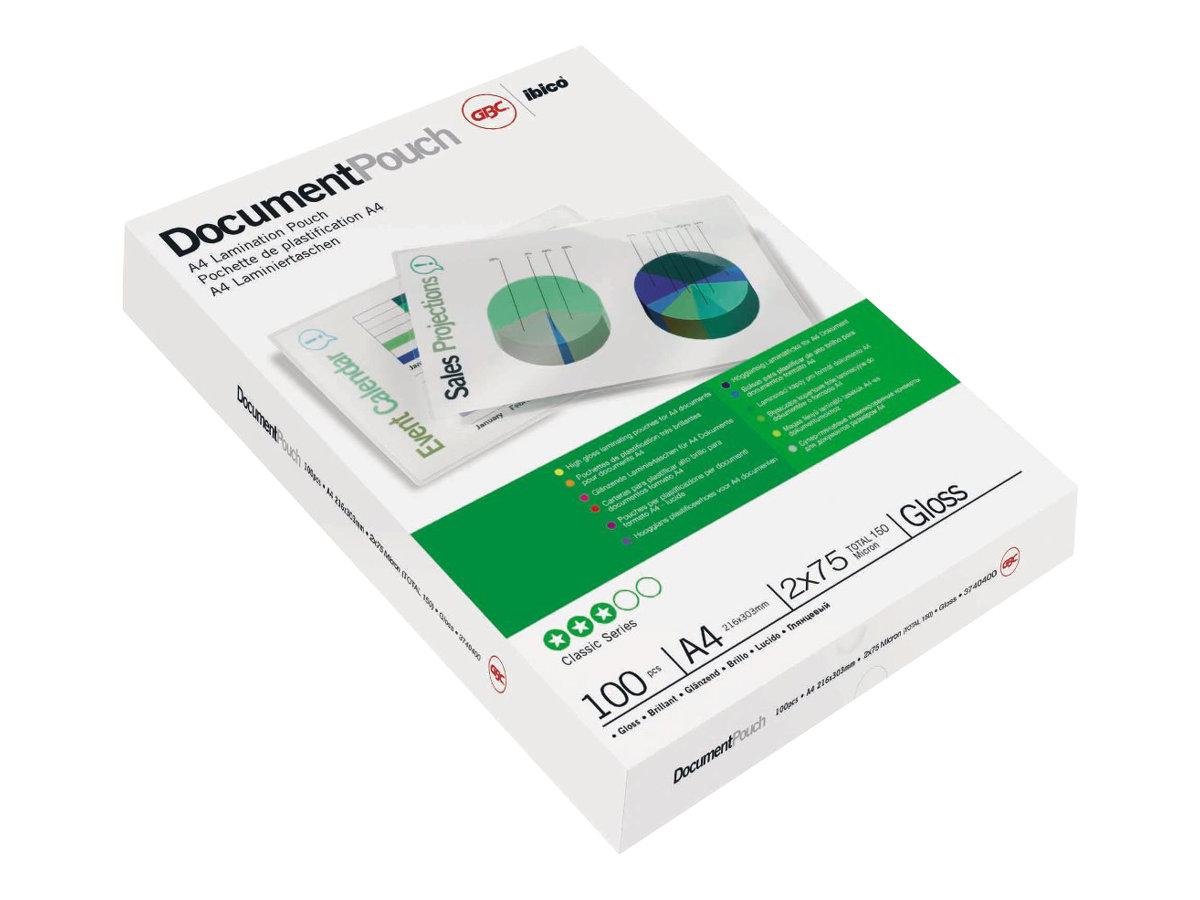GBC - 100 pochettes de plastification - 75 microns - A4