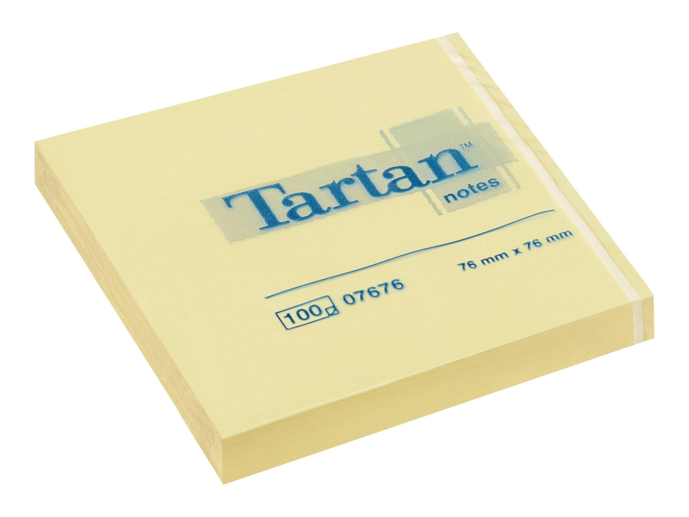 Tartan 07676 - Notes - 76 x 76 mm - 100 feuilles - jaune - à l'unité ou en lot