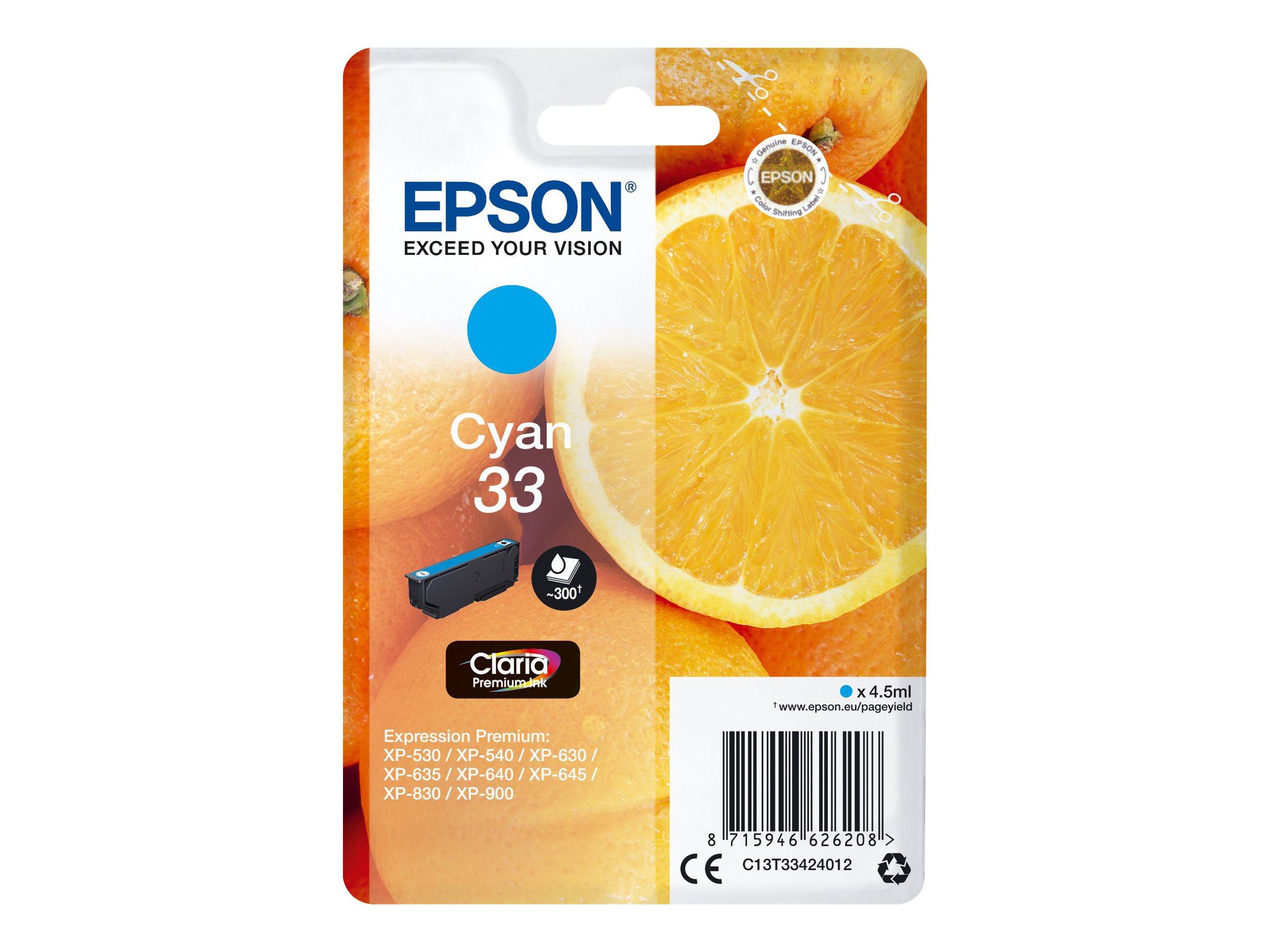Epson T33 - oranges - cyan - originale - cartouche d'encre