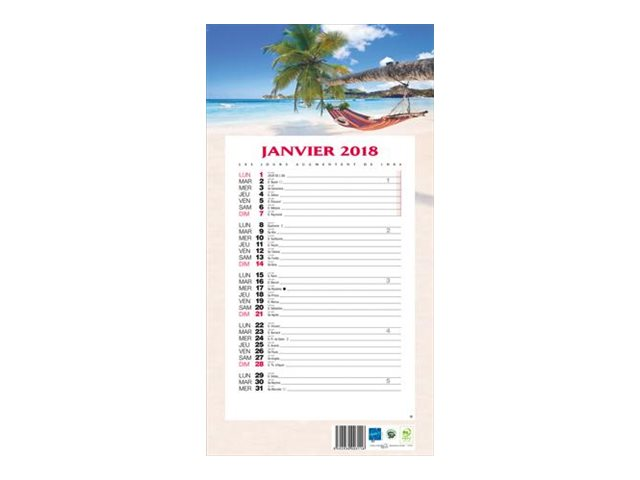 CBG 409 Exotique - calendrier de bloc mensuel