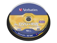 Verbatim - DVD+RW x 10 - 4.7 Go - support de stockage