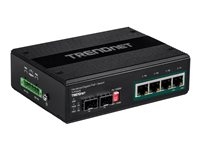TRENDnet 6-port Hardened Industrial Gigabit PoE+ Switch /w 2 SFP