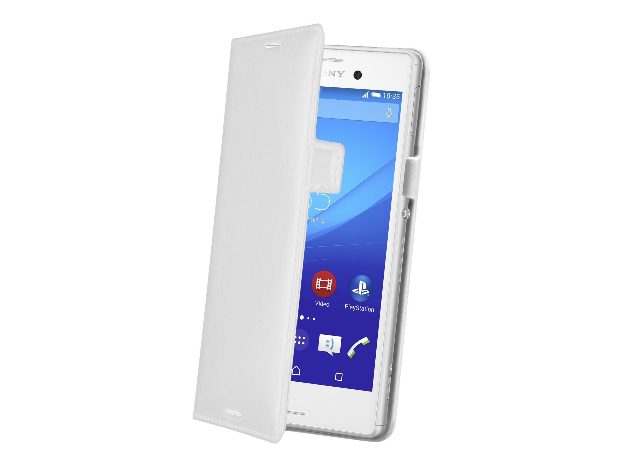 Muvit - Protection à rabat slime pour Sony XPERIA M4 Aqua, M4 Aqua Dual - blanc