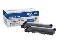 Brother TN-660 2PK - 2-pack - High Yield - black - original - toner cartridge - for Brother HL-L2300, L2305, L2315, L2320, L2340, L2360, L2380, MFC-L2680, L2685, L2707, L2720
