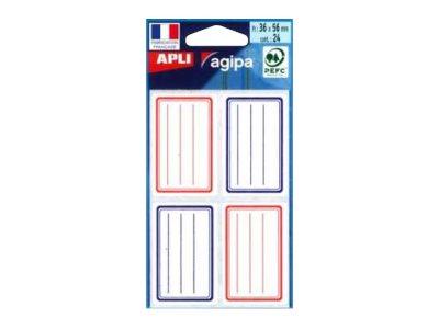 APLI agipa - 24 Étiquettes autocollantes scolaires - bleu. rouge