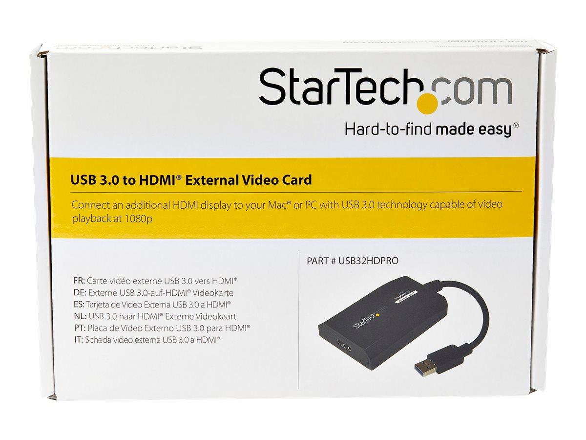 Image de StarTech.com Adaptateur vidéo multi-écrans USB 3.0 vers HDMI pour Mac / PC - Carte graphique externe certifié DisplayLink - HD 1080p - M/F - Câble adaptateur - USB type A mâle pour HDMI femelle - 16 cm - noir - support 1920 x 1200 (WUXGA) - pour P/N: HDDVIMM3, HDMM12, HDMM15, HDMM1MP, HDMM2MP, HDMM3, HDMM3MP, HDMM50A, HDMM6, HDPMM50