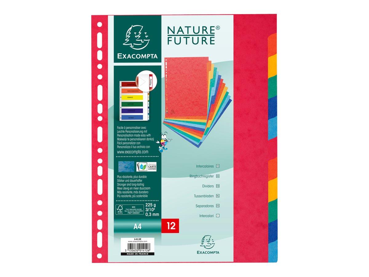 Exacompta Nature Future - Intercalaire - 12 positions - A4 - jaune tacheté. vert tacheté. rouge marbré. bleu marbré