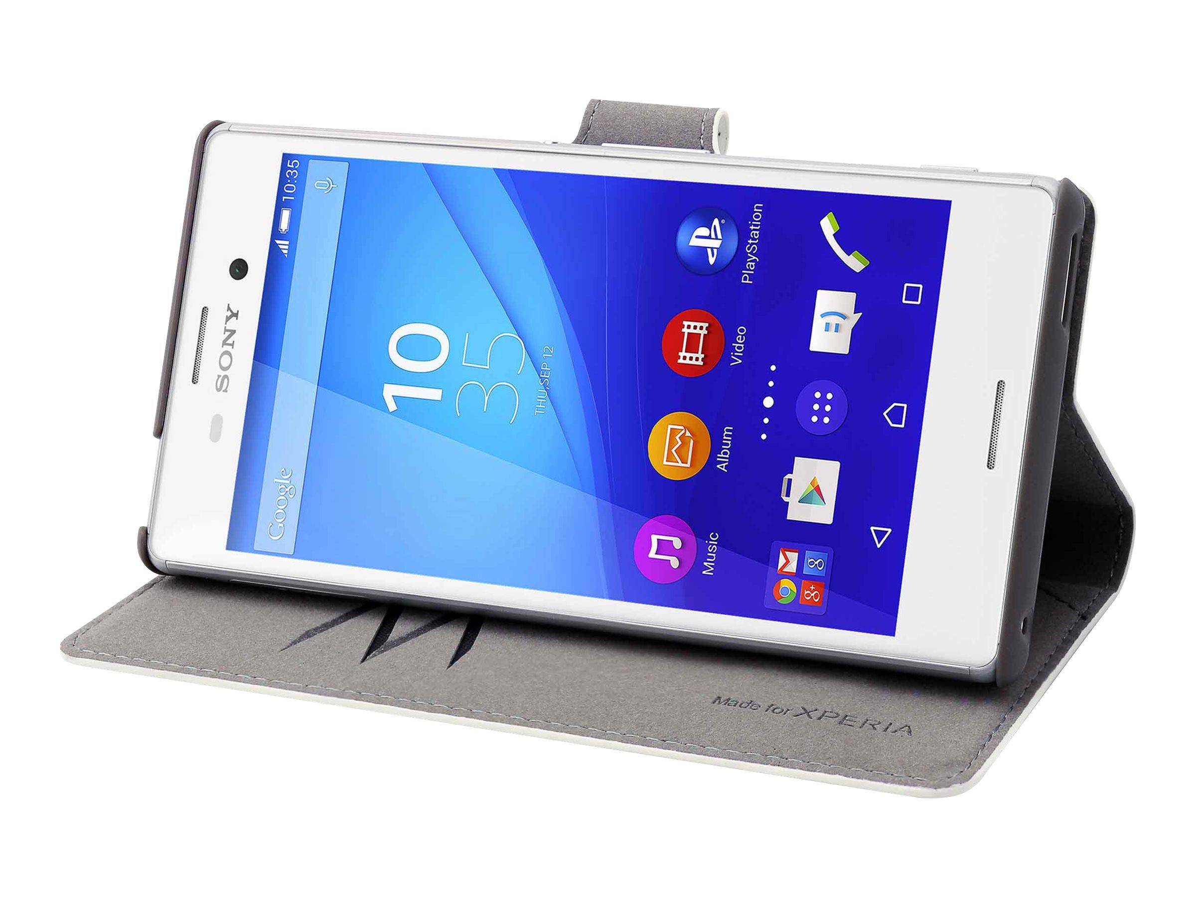 Muvit MFX Wallet Folio - Protection à rabat pour Sony XPERIA M4 Aqua - blanc