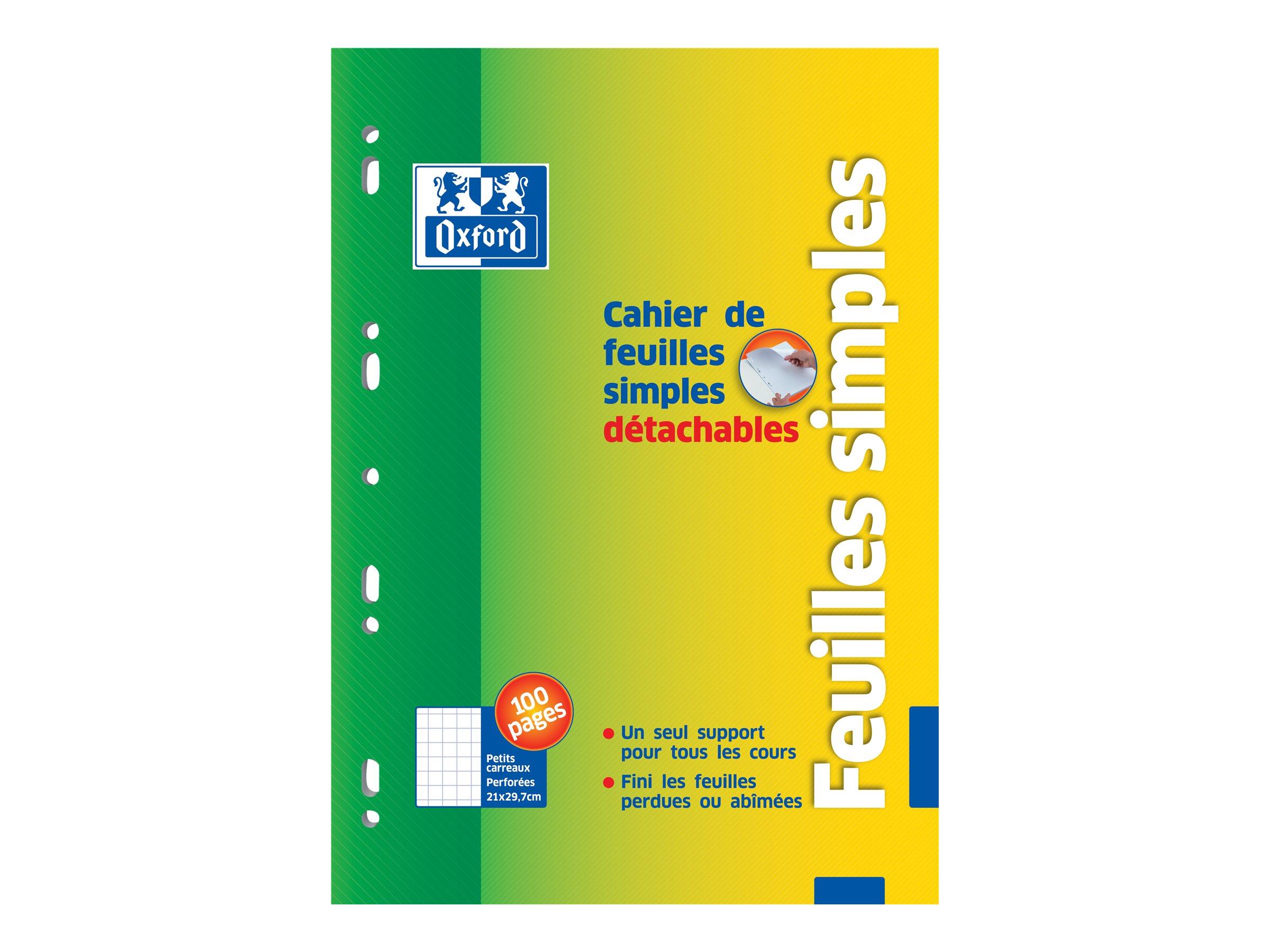 Oxford School - Cahier - feuilles mobiles - A4 - 100 pages - petix carreaux
