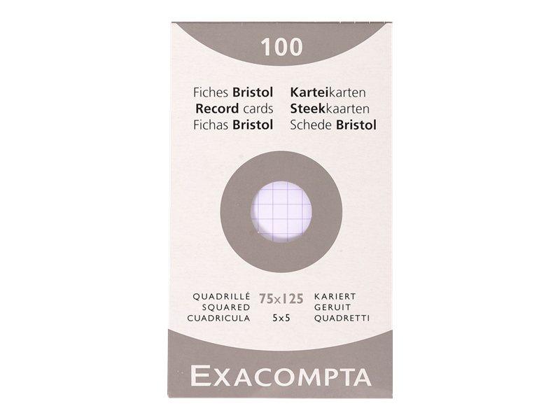Exacompta - 100 Fiches bristol - 75 x 125 mm - blanc - petits carreaux