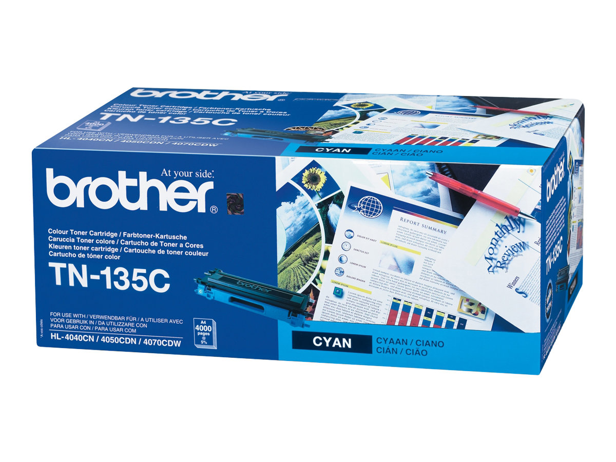 Brother TN135C - à rendement élevé - cyan - originale - cartouche de toner