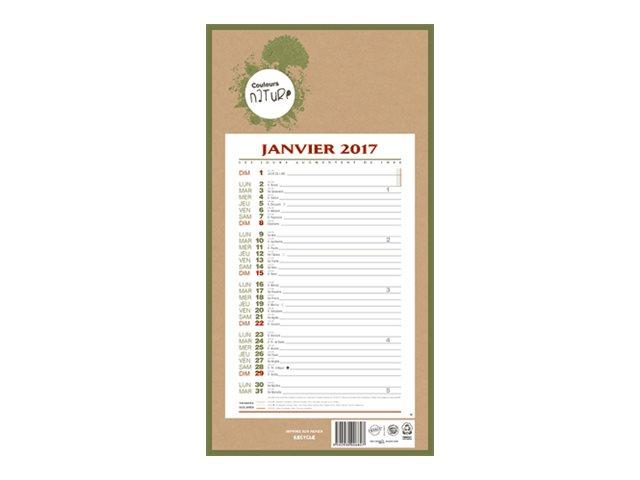 CBG 409 Natura - Calendrier - 2017 - 12 feuilles - 190 x 360 mm
