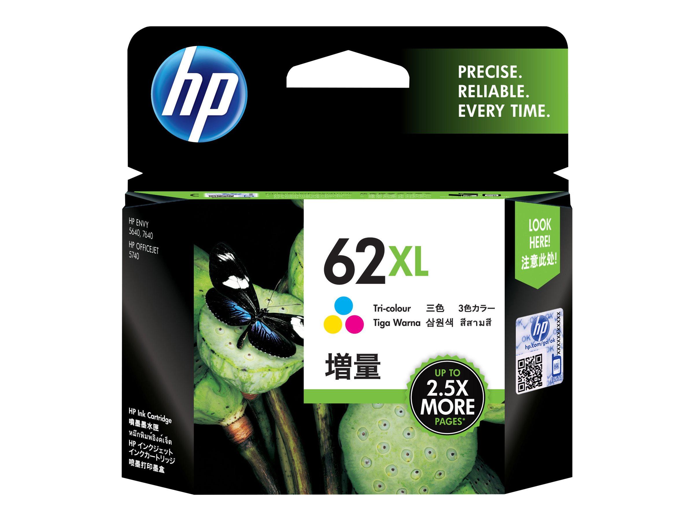 HP 62XL - à rendement élevé - tricolore à base de colorant - originale - cartouche d'encre