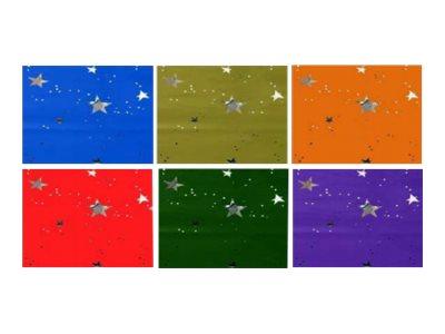 Apli Agipa - Papier cadeau - 70 cm x 2 m - 35 µm - couleurs assorties étoilées métallique