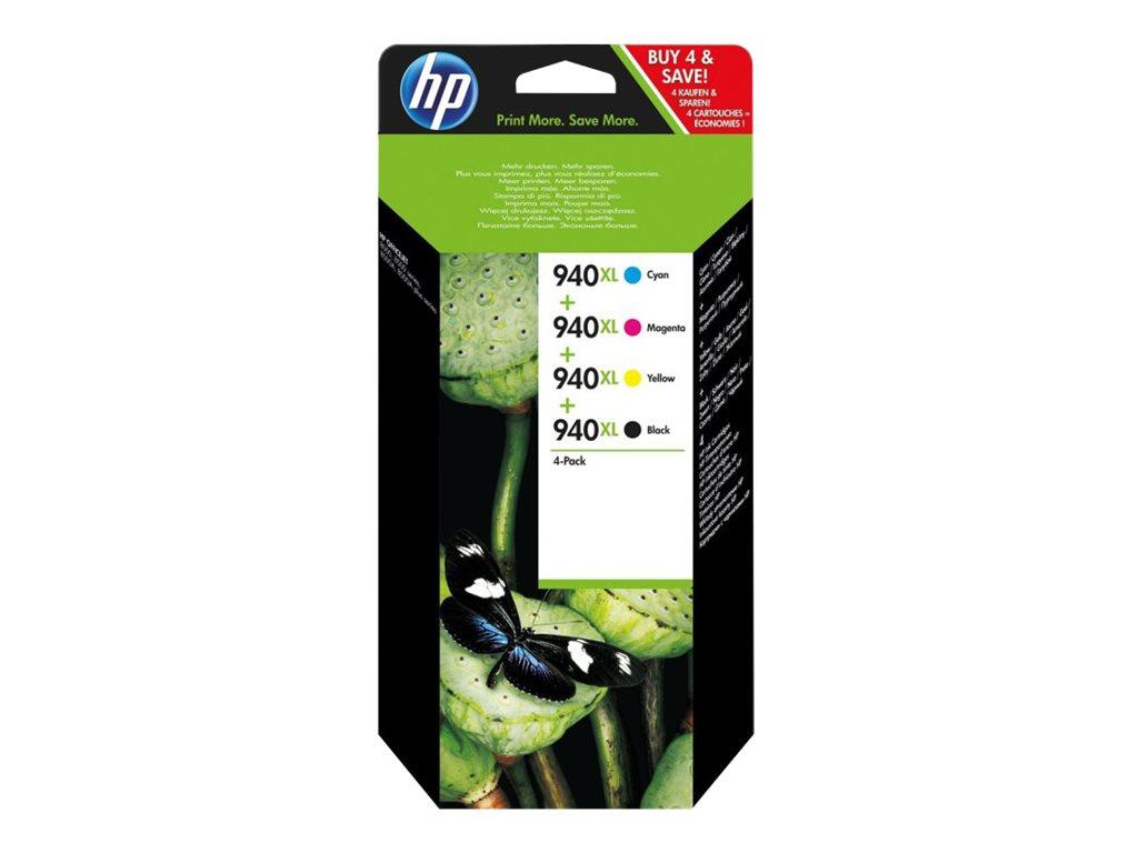 HP 940XL - pack de 4 - à rendement élevé - noir, jaune, cyan, magenta - originale - cartouche d'encre