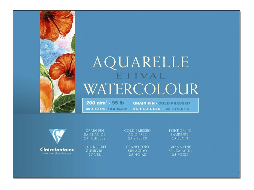 Clairefontaine ETIVAL Aquarelle Watercolour - bloc à dessins