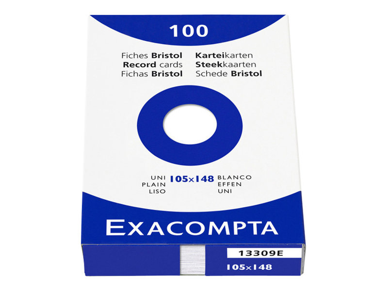 Exacompta - 100 Fiches Bristol - A6 - blanc - uni