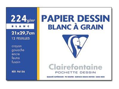 Clairefontaine Dessin à Grain - Papier à dessin - A4 - 12 feuilles 224 g/m² - blanc