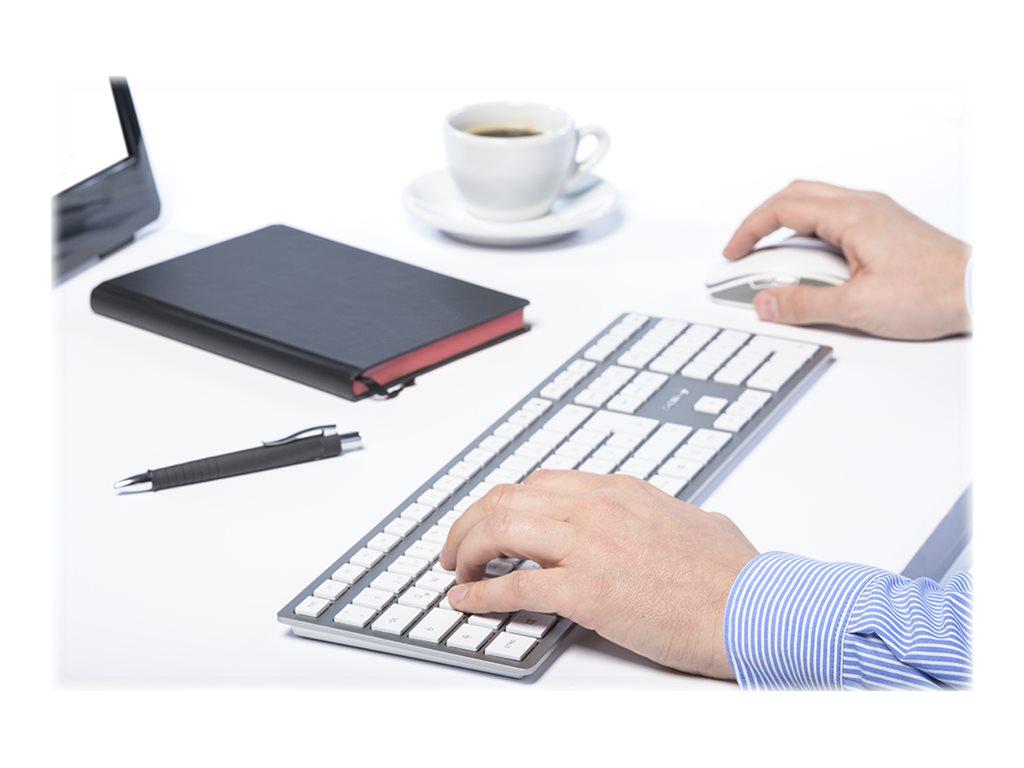 Image de CHERRY DW 9000 SLIM - Ensemble clavier et souris - sans fil - 2.4 GHz, Bluetooth 4.0 - AZERTY - Français - blanc, argent
