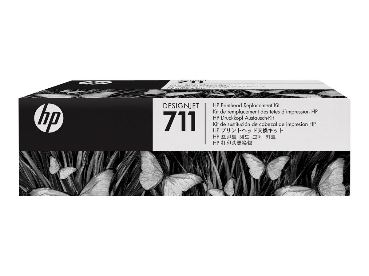 HP 711 - noir, jaune, cyan, magenta - tête d'impression