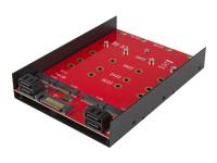 """StarTech.com Adaptateur de montage pour 4 SSD M.2 NGFF dans baie SATA de 3,5"""" - contrôleur de stockage - SATA 6Gb/s - SATA 6Gb/s"""