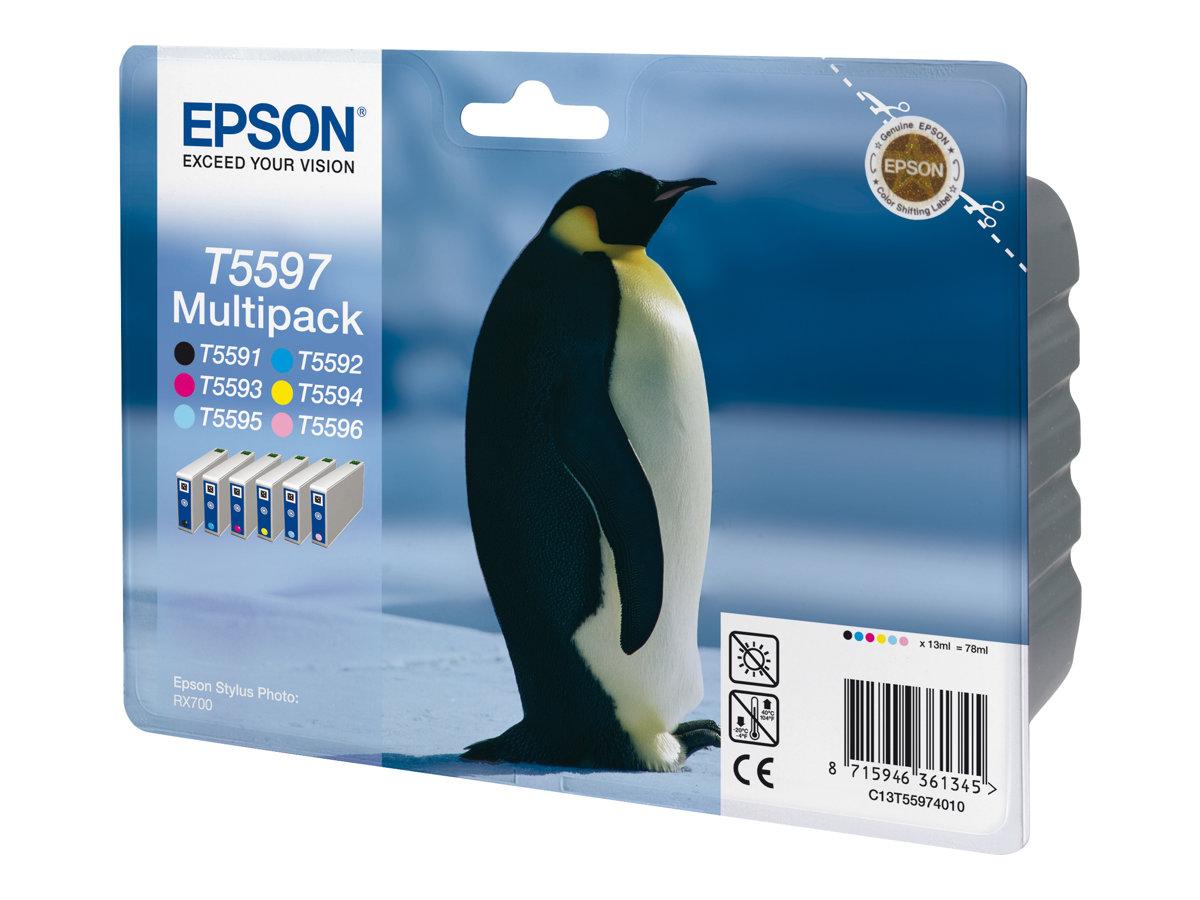 Epson Multipack T5597 - noir, jaune, cyan, magenta, magenta clair, cyan clair - originale - cartouche d'encre