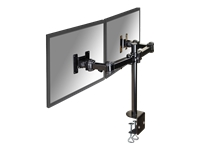 "NewStar Flatscreen/Monitor Desk Mount (clamp) for dual screen 10-27"" (3 pivots, tiltable & rotatable), Height Adjustable - Black - kit de montage (inclinaison et rotation)"
