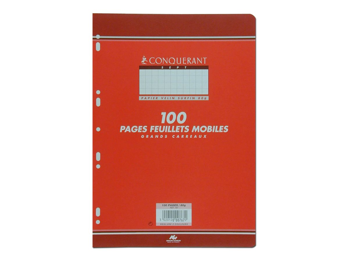 CONQUERANT SEPT - A4 - Copies simples - 21 x 29,7 - 100 pages - Grands carreaux