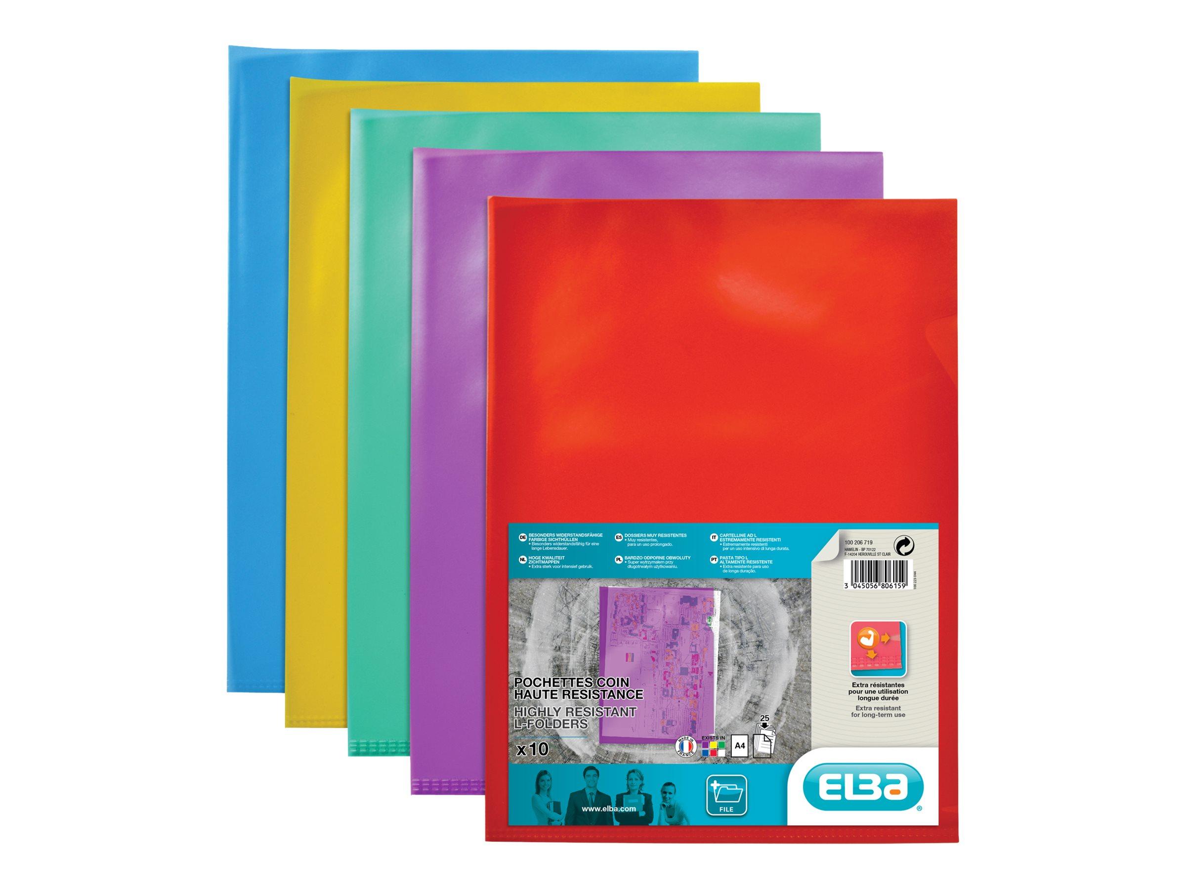 ELBA - 10 pochettes coins - A4 - pour 25 feuilles - assorties transparents