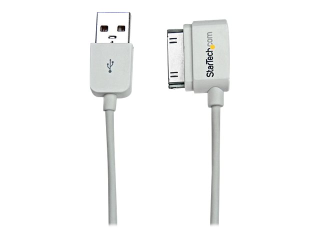 Image of StarTech.com 0.5m Left Angle Apple 30pin Dock to USB Cable iPhone iPad - iPad / iPhone / iPod charging / data cable - USB - 50 cm