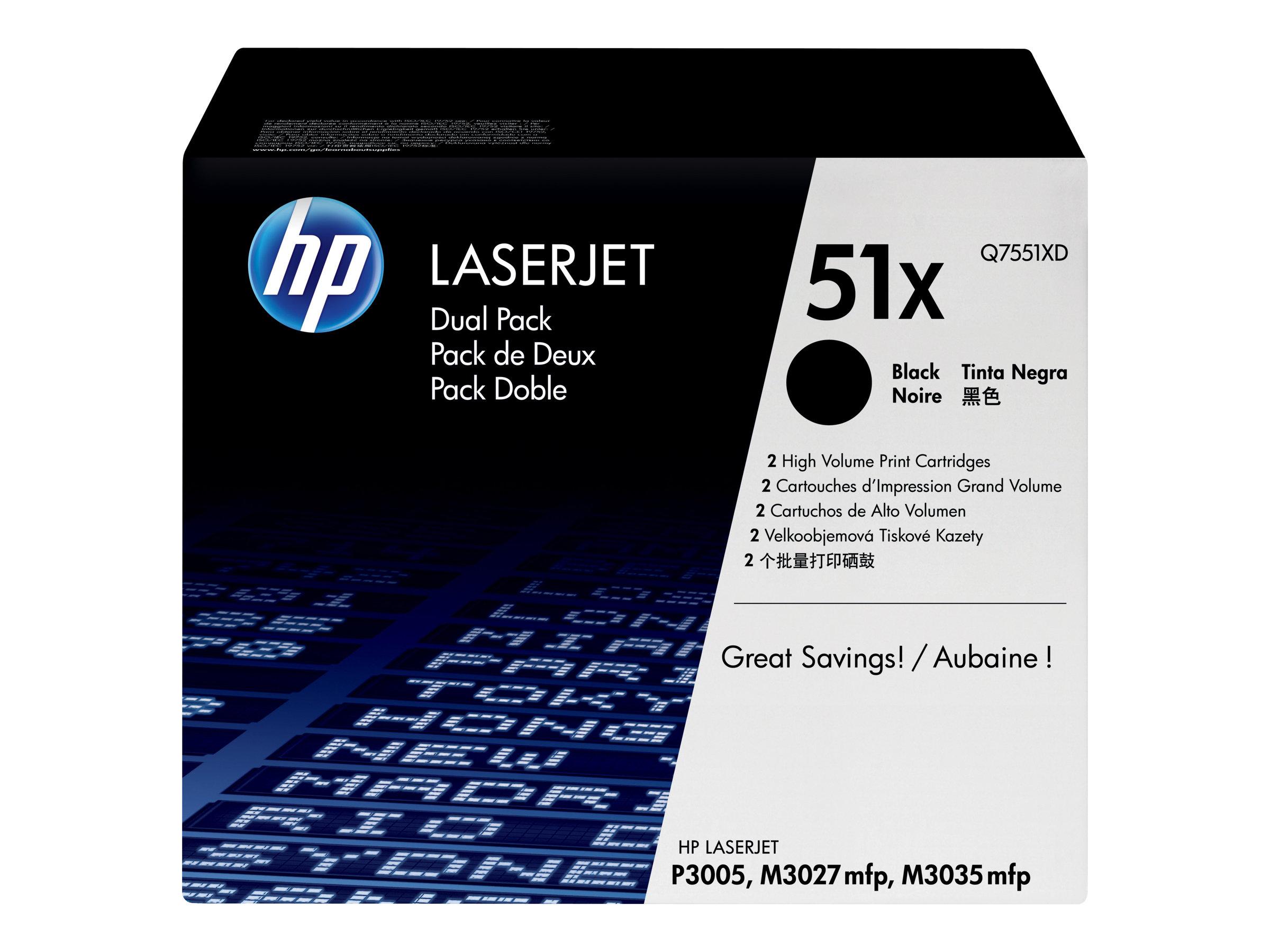 HP 51X - pack de 2 - à rendement élevé - noir - originale - LaserJet - cartouche de toner (Q7551XD)