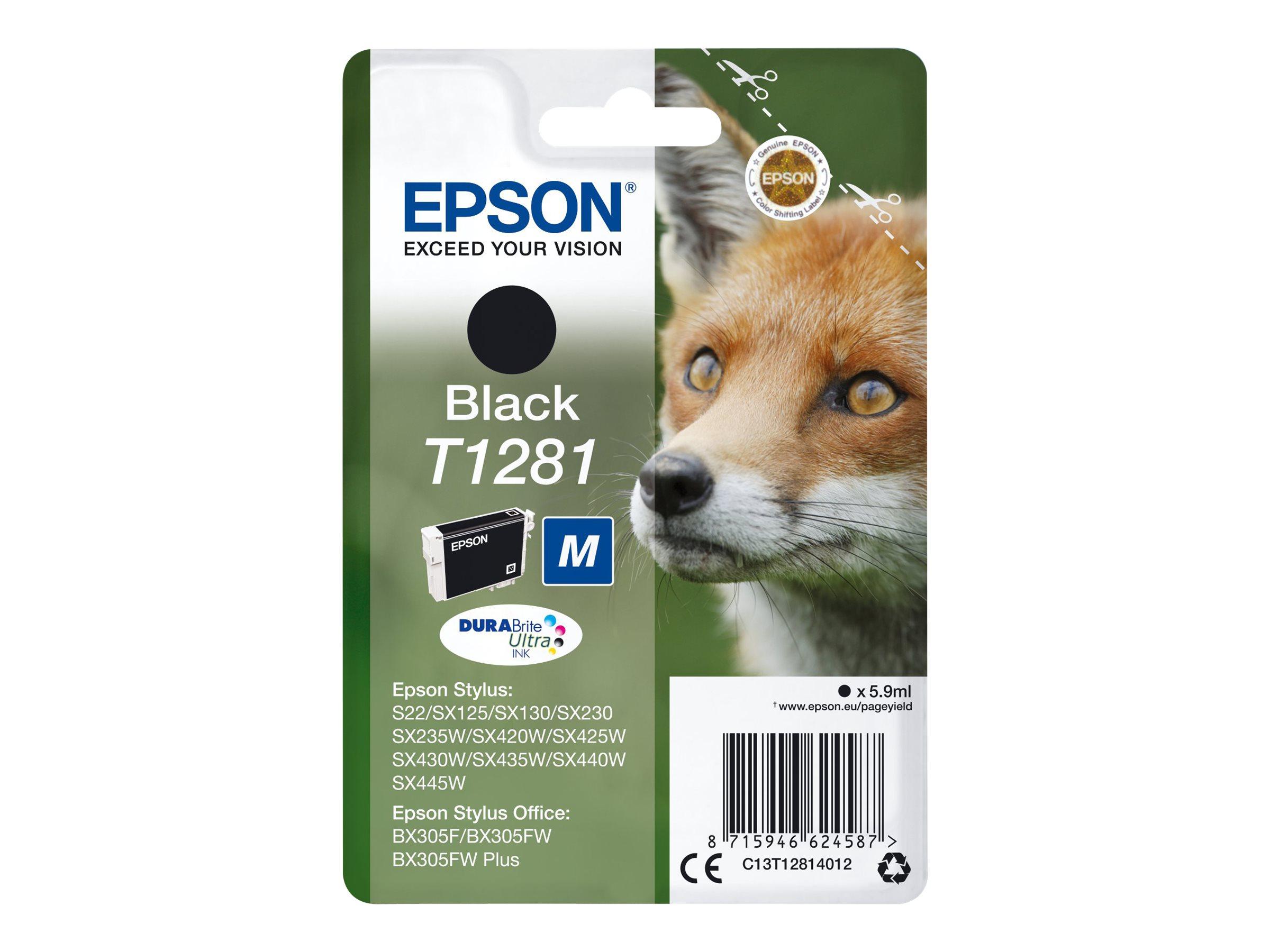 Epson T1281 - renard - noir - original - cartouche d'encre