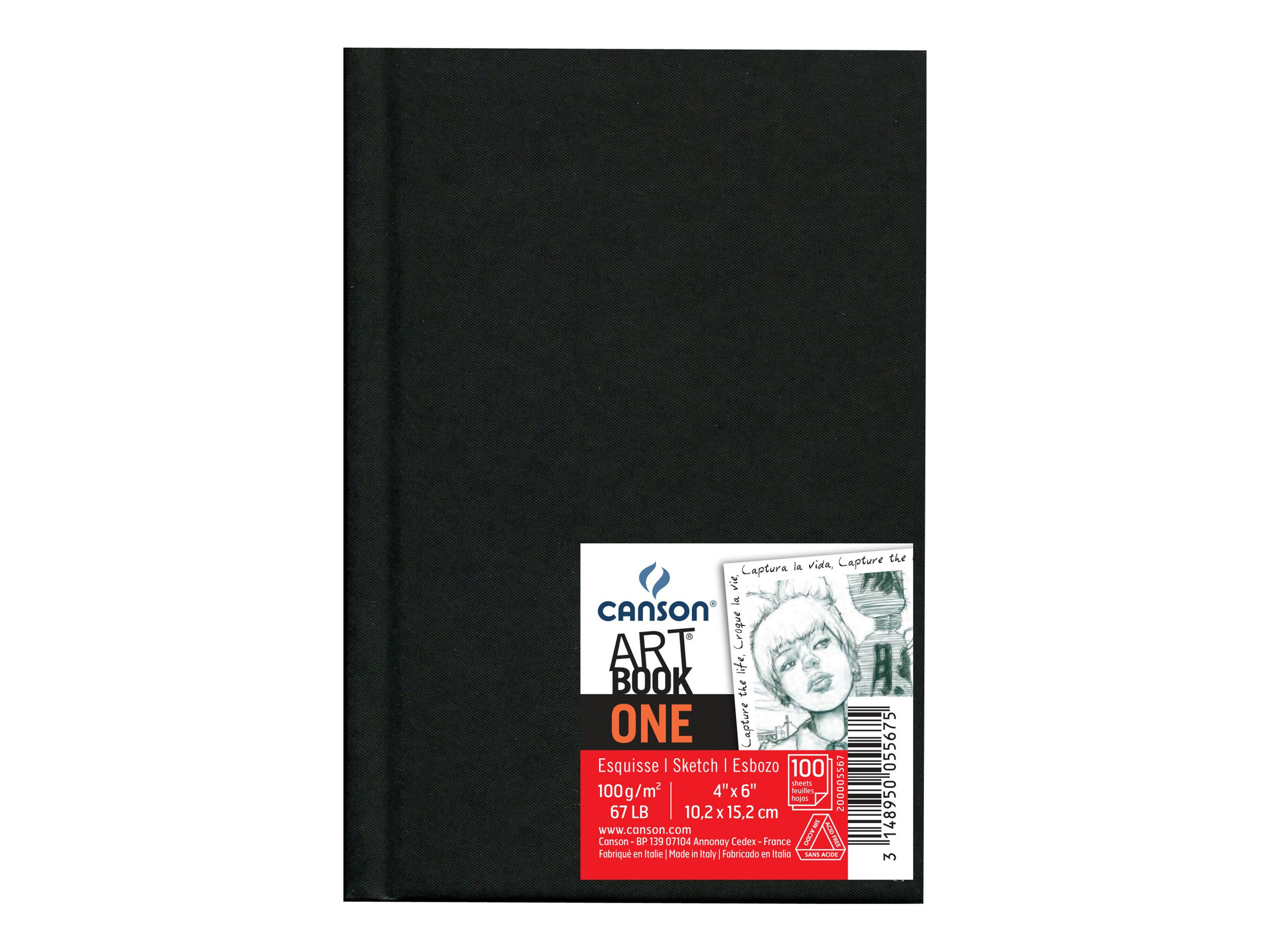 CANSON Art Book One - Bloc d'esquisse - 102 x 152 mm - 100 feuilles - noir