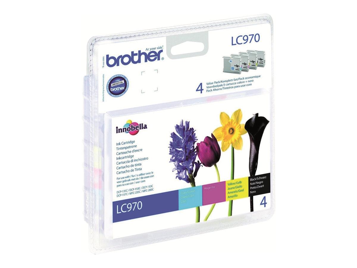 Brother LC970VALBP - pack de 4 - noir, jaune, cyan, magenta - originale - cartouche d'encre