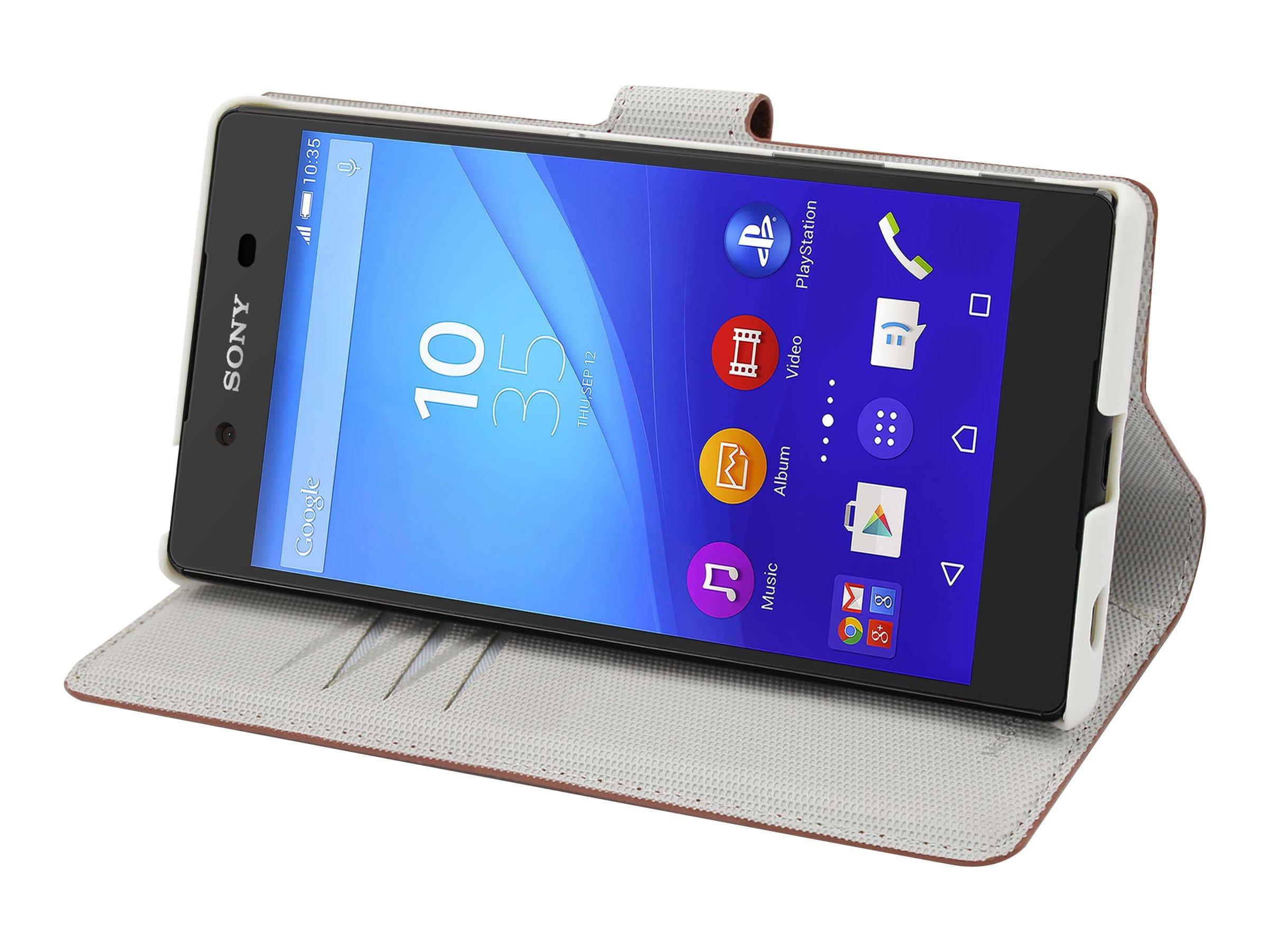 Muvit MFX Wallet Folio - Protection à rabat pour Sony XPERIA Z5 - fauve