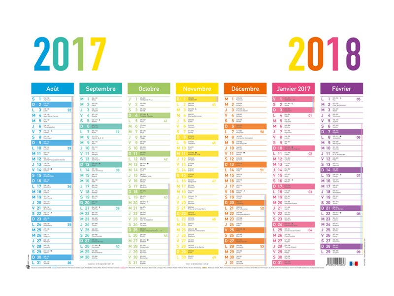 oberthur arc en ciel calendrier ao t 2017 juillet 2018 visualisation de 7 mois 430 x. Black Bedroom Furniture Sets. Home Design Ideas