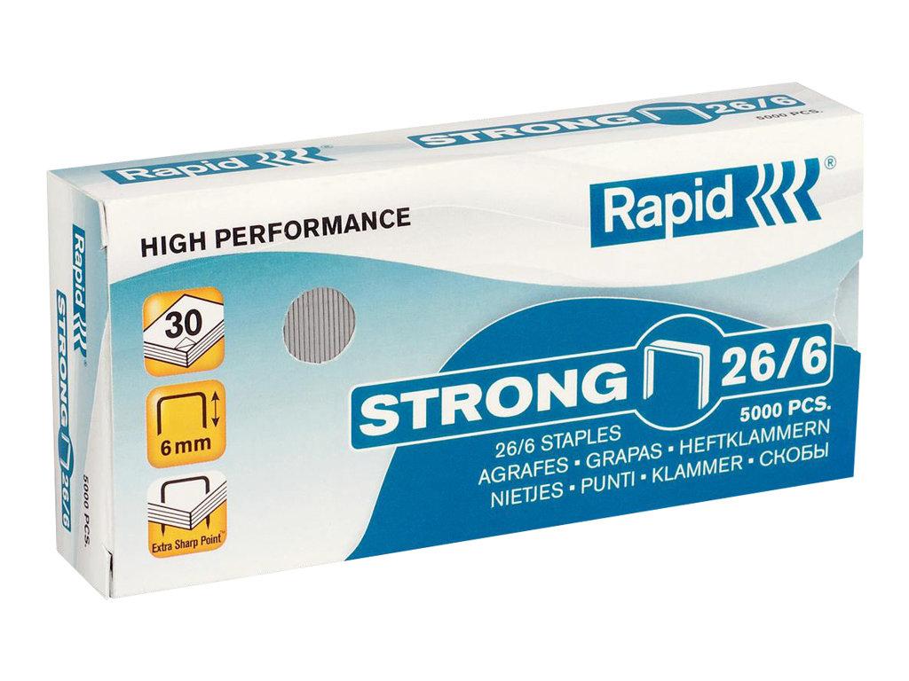 Rapid Strong - 5000 Agrafes - 26/6 - 6 mm - acier galvanisé