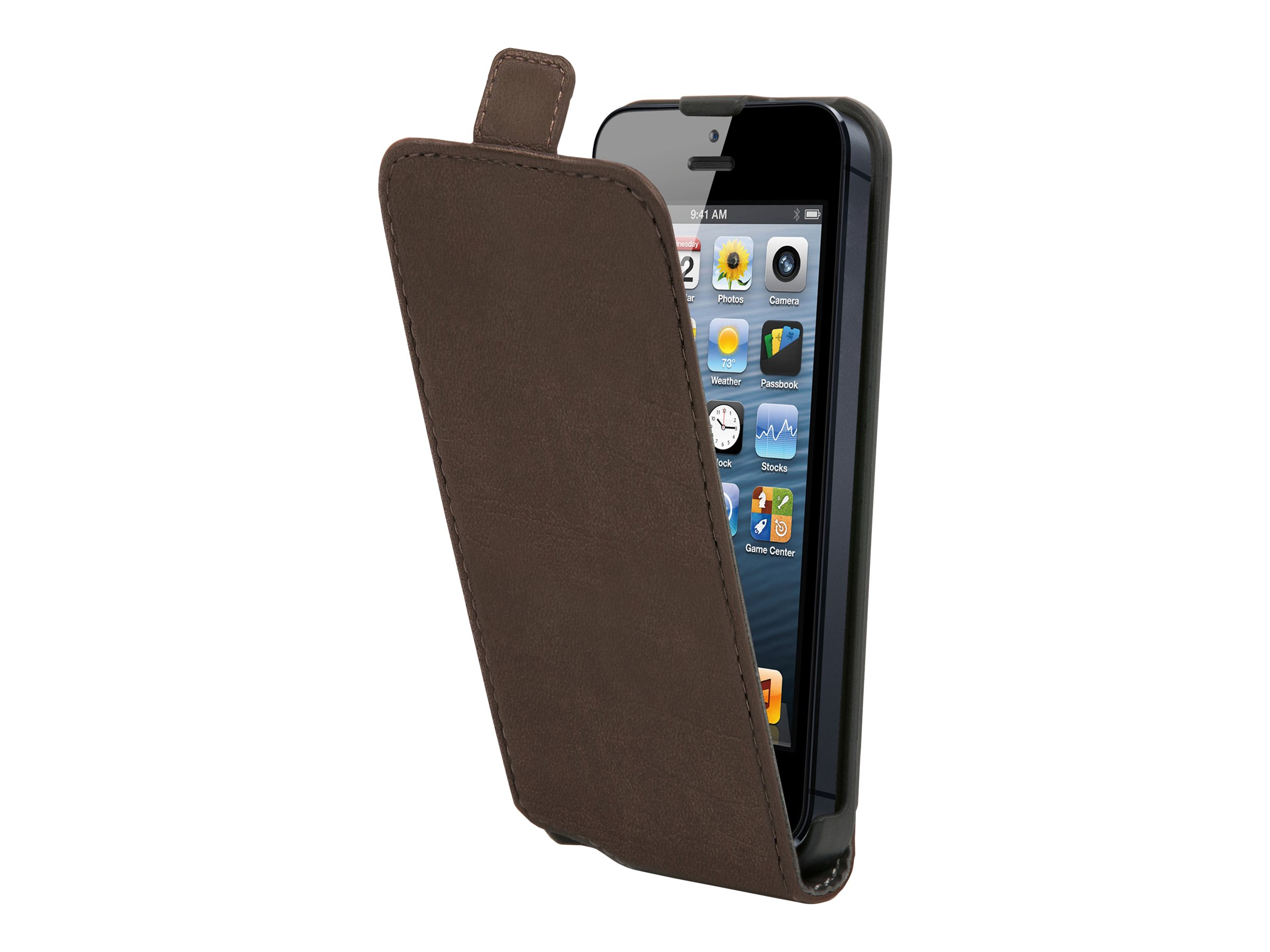 Muvit Made in Paris Slim - Protection à rabat pour iPhone 5, 5s - brun