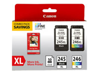 Canon PG-245 XL/CL-246XL Combo Pack with GP-502 - 2-pack - High Capacity - black, color (cyan, magenta, yellow) - original - ink cartridge - for PIXMA iP2820, MG2522, MG2525, MG2920, MG2922, MG2924, MG3020, MG3029, MG6820, MX490, MX492