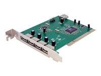 StarTech.com Adaptador Tarjeta PCI USB 2.0  de Alta Velocidad 7 Puertos - 4 Externos y 3 Internos - 7x USB A Hembra