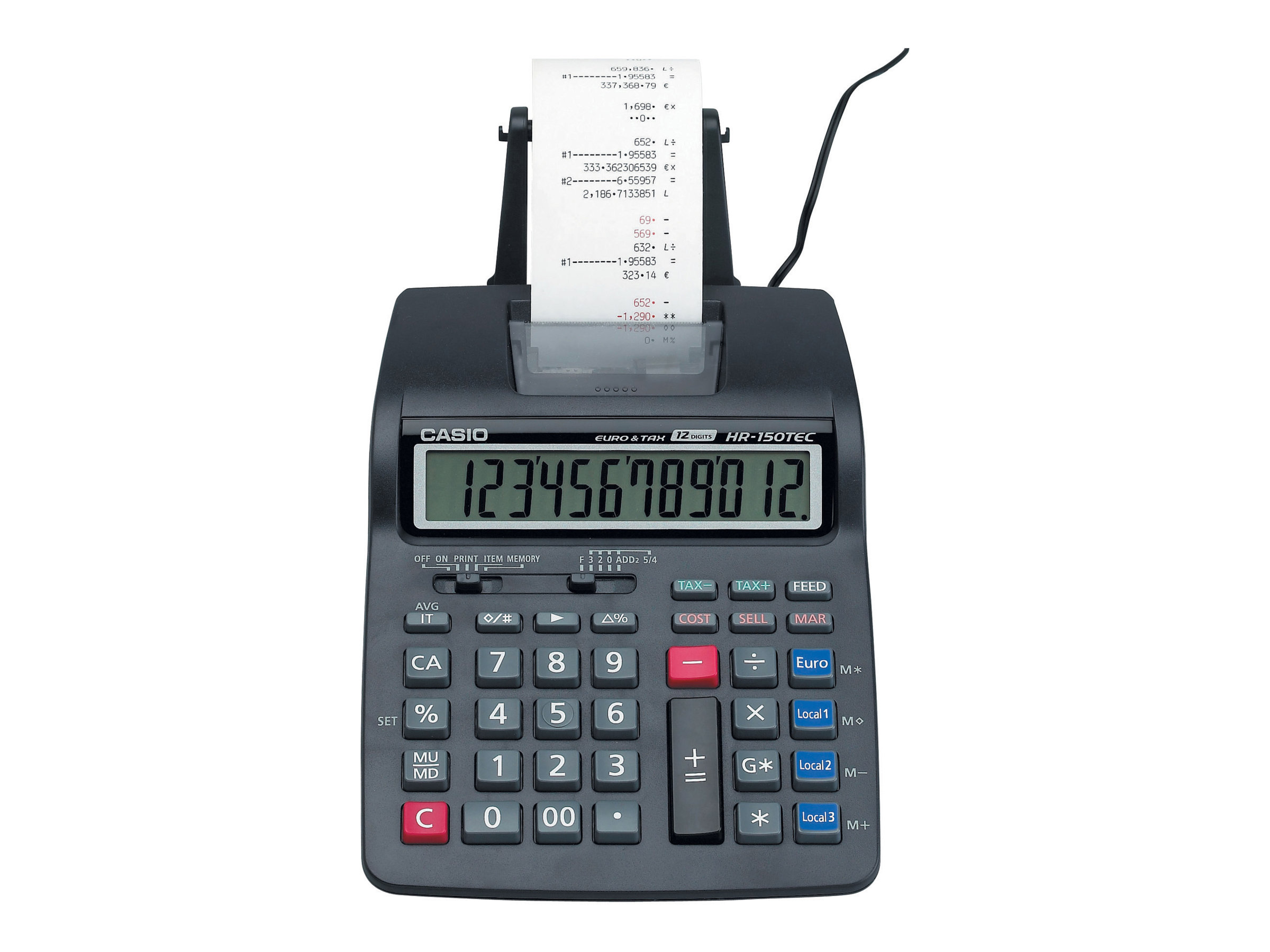 casio hr 150tec calculatrice avec imprimante lcd 12 chiffres avec ou sans adaptateur. Black Bedroom Furniture Sets. Home Design Ideas