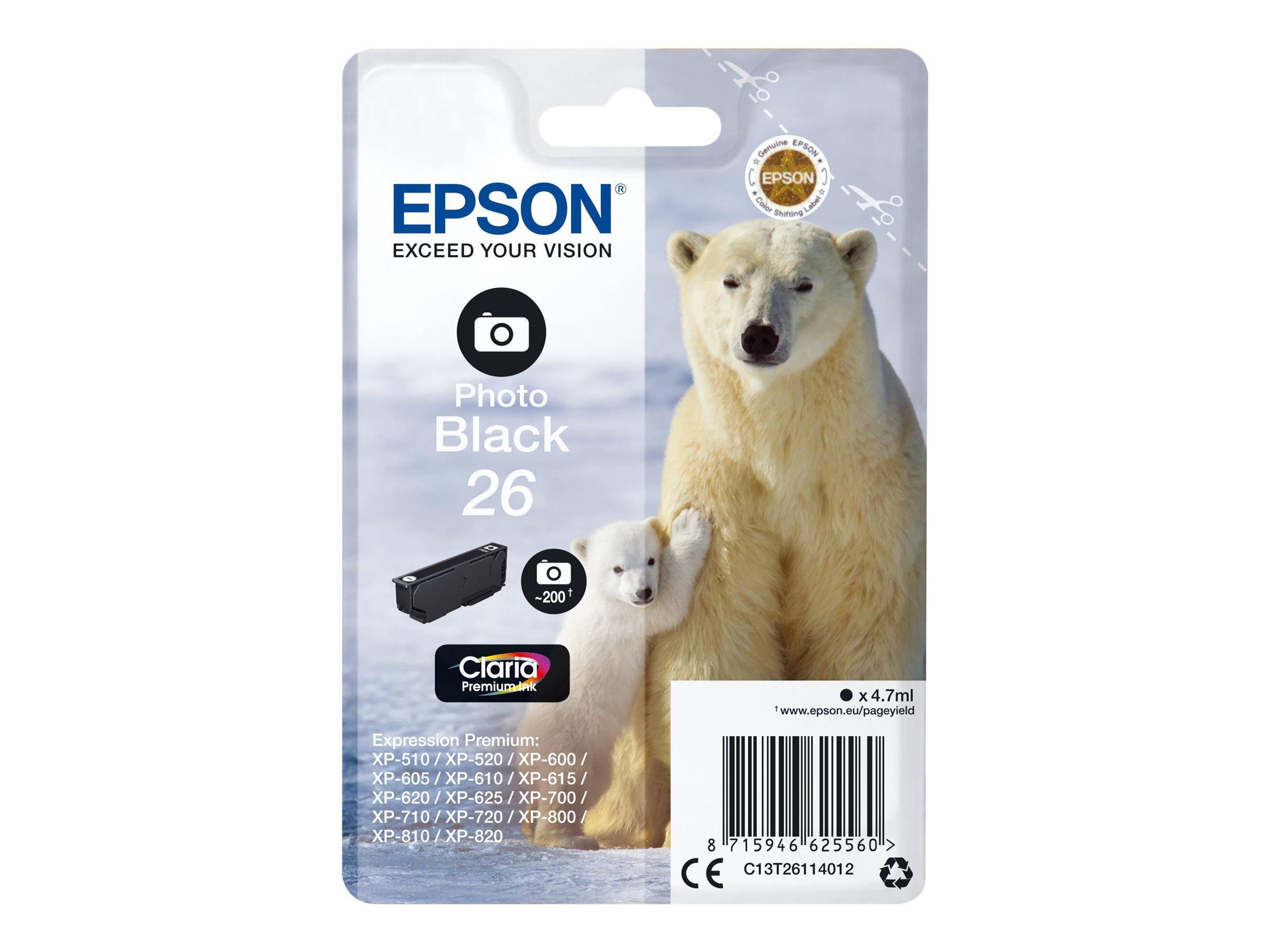 Epson T26 - ours - photo noire - originale - cartouche d'encre