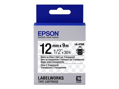 Epson LabelWorks LK-4TBN - Black on transparent - Role (1,2 cm x 9 m) 1 role páska nálepek - pro LabelWorks LW-1000, LW-300, LW-400, LW-600, LW-700, LW-900, LW-K400, LW-Z700, LW-Z900